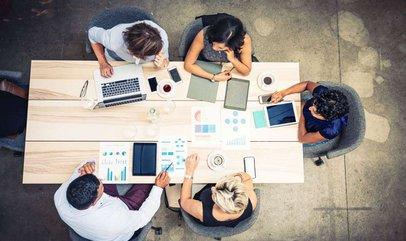 Startup team collaborating